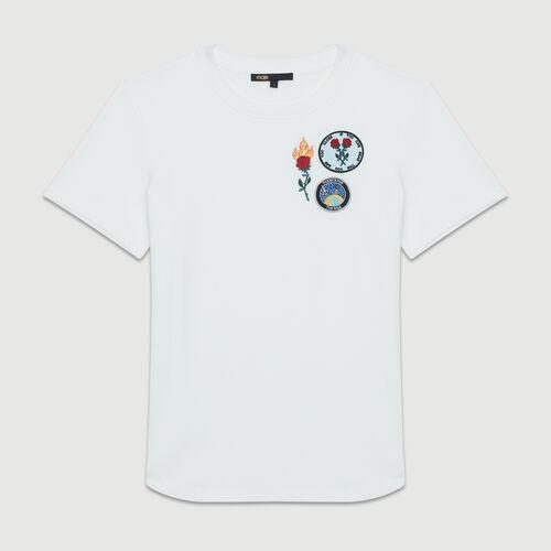 Tee-shirt en coton à patch : T-Shirts couleur BLANC