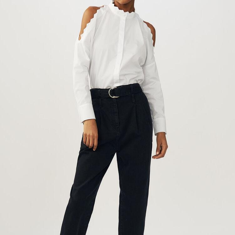 Chemise en coton à épaules dénudées : Chemises couleur BLANC