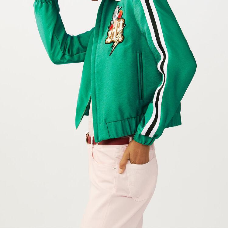 Blouson court avec col bijou : Blousons couleur Vert