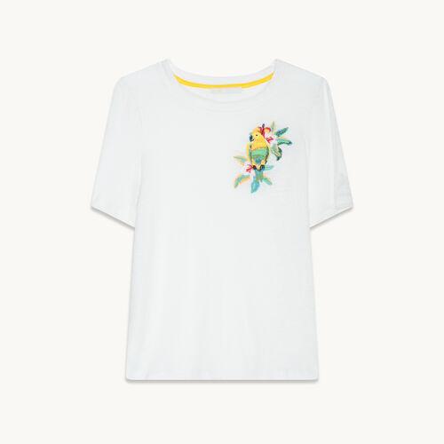 Tee-shirt en lin avec broderie - null - MAJE
