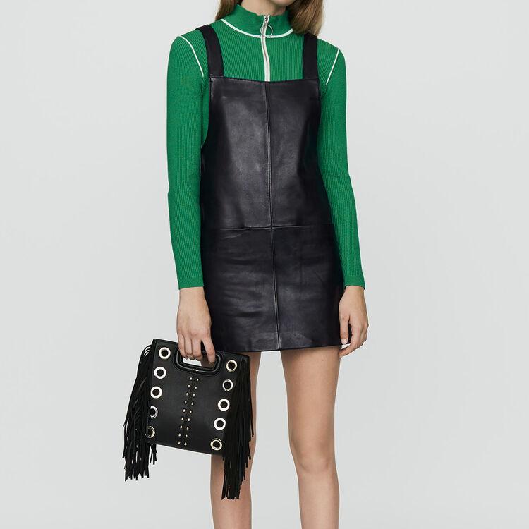 Robe chasuble en cuir : Nouvelle Collection couleur Black