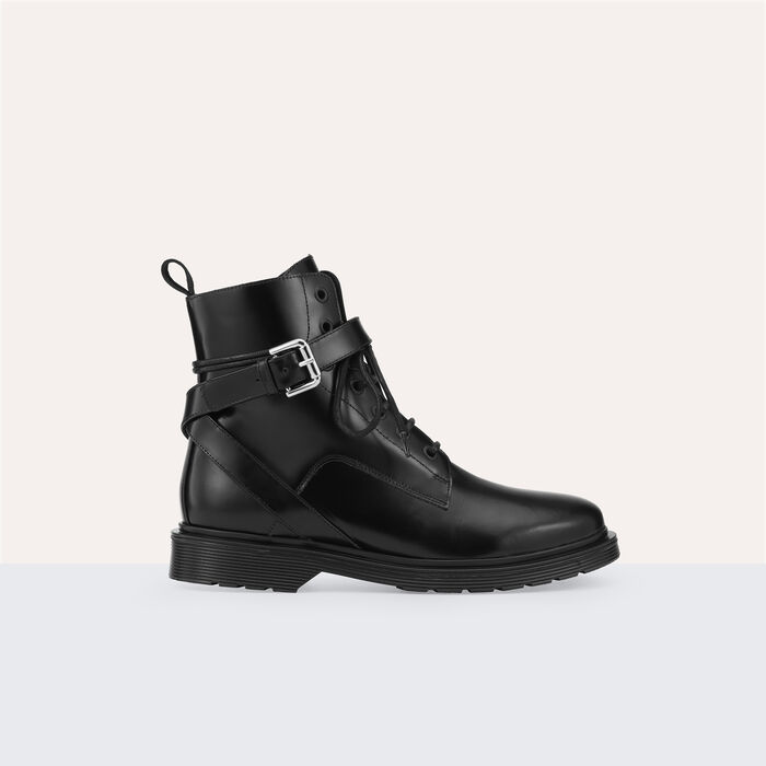Boots montantes en cuir - Chaussures - MAJE