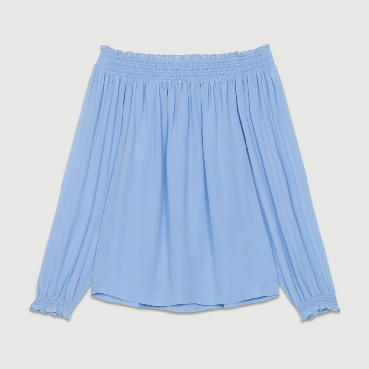 Top en soie à épaules dénudées : Tops couleur Bleu Jeans