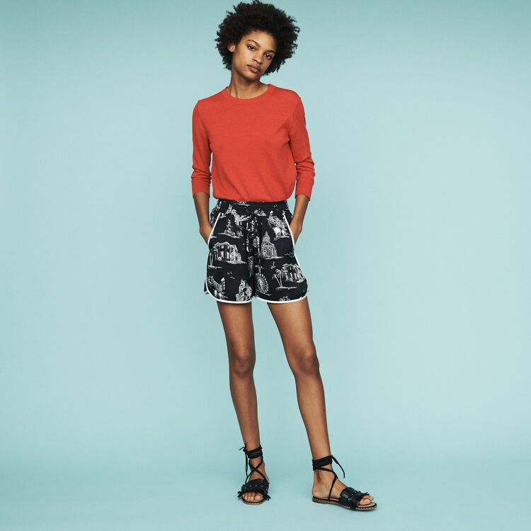 Short à imprimé Paris : Jupes & Shorts couleur BLACK