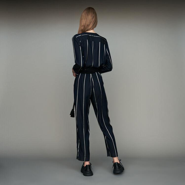 Combinaison-pantalon à rayures : Pantalons & Jeans couleur Marine