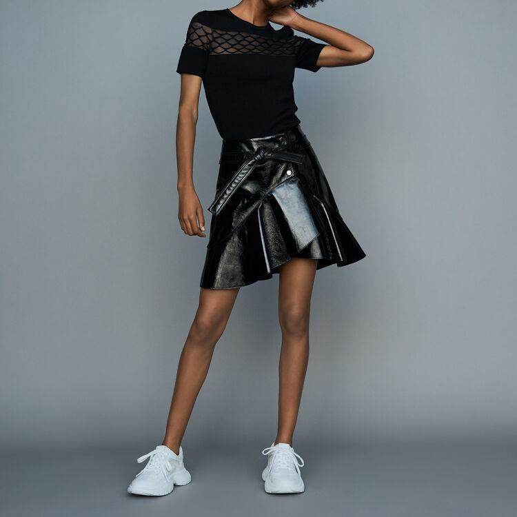 Top en maille Stretch : Maille couleur Black