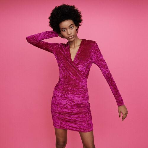 Robe drapée en velours frappé : Robes couleur Rose