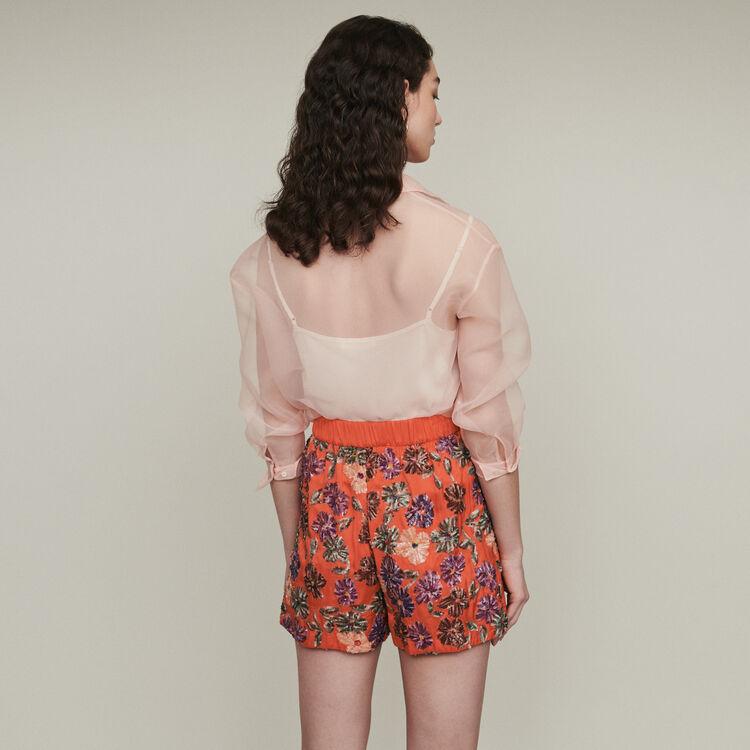 Short brodé de sequins : Jupes & Shorts couleur Corail