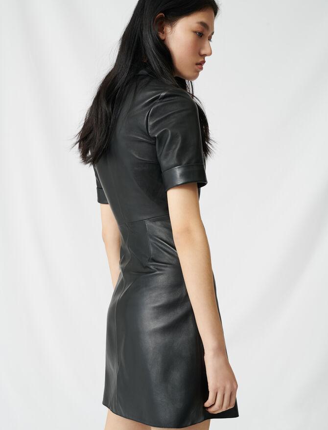 Robe chemise boutonnée en cuir - Robes - MAJE