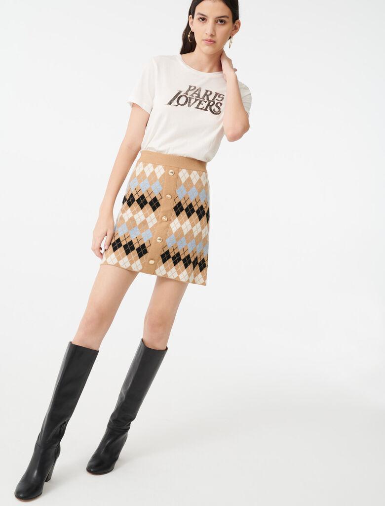Jupe en jacquard boutonnée : Jupes & Shorts couleur Camel