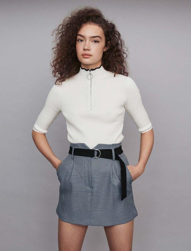 Jupe courte ceinturée à carreaux - Jupes & Shorts - MAJE