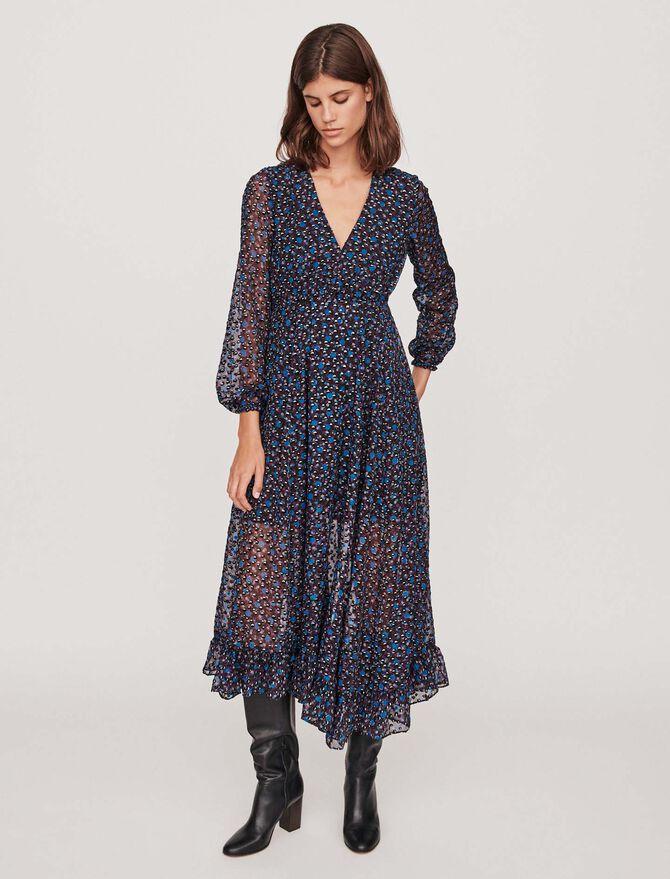Robe longue asymétrique en dévoré Lurex - Robes - MAJE