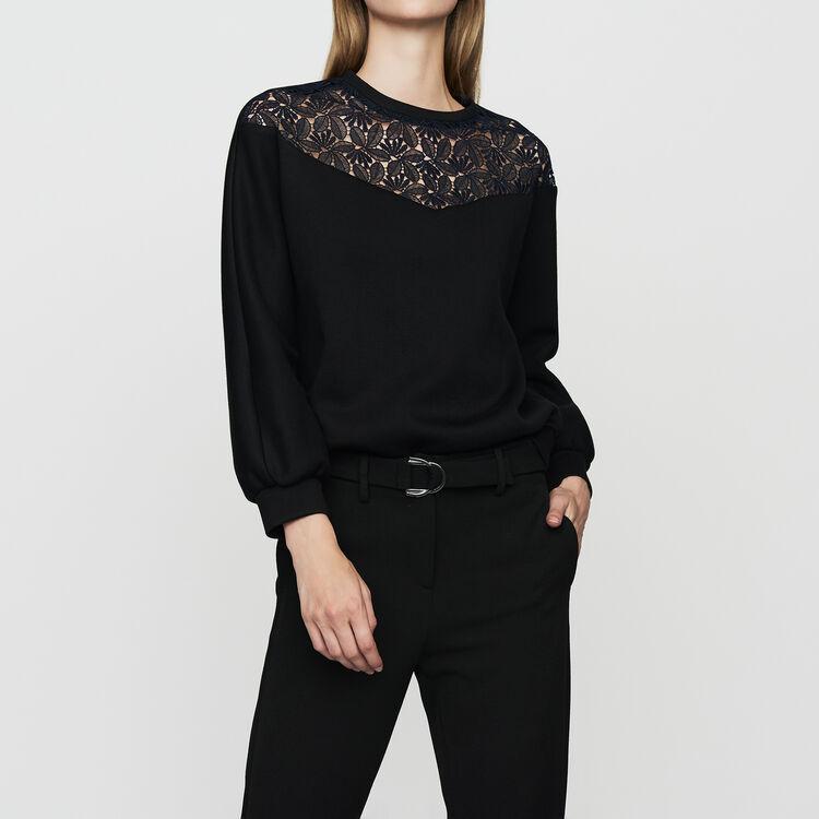 Sweat-shirt avec dentelle : Sweats couleur Black