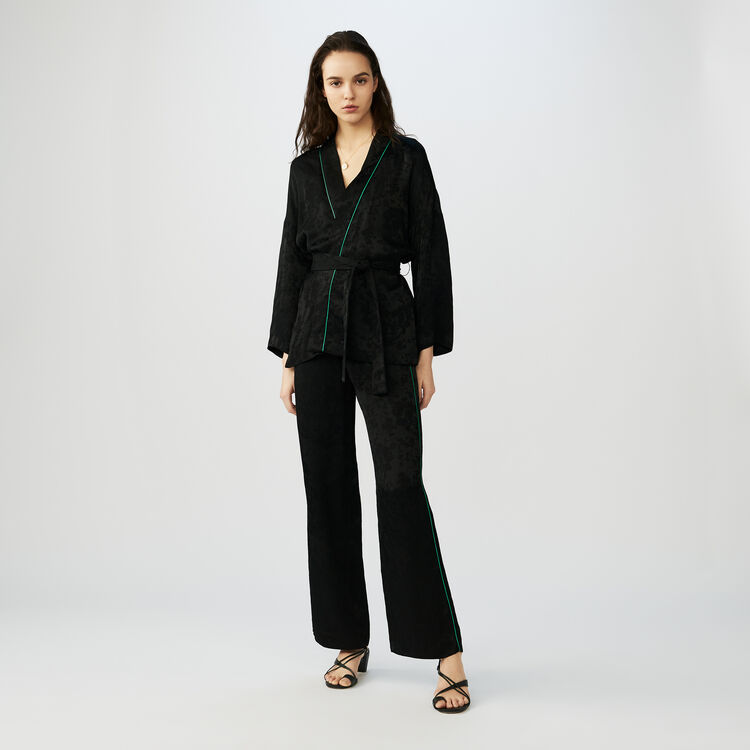 Kimono court ceinturé : Vestes couleur Black