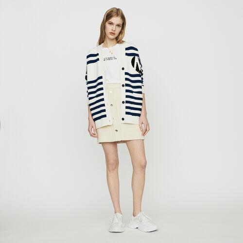 Cardigan à rayures brodé de sequins : Pulls & Cardigans couleur ECRU