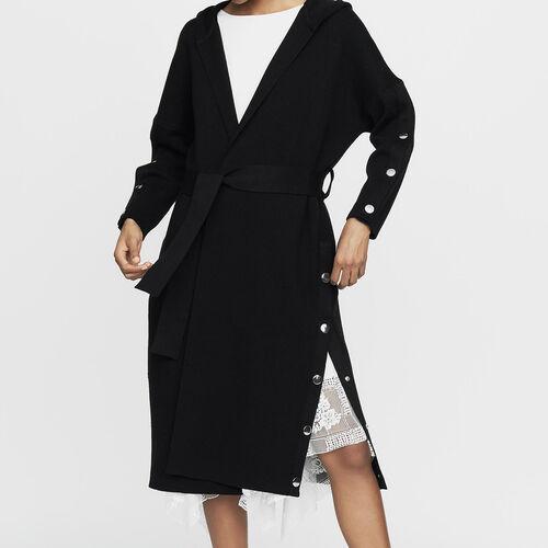 Long cardigan à capuche : Maille couleur Black
