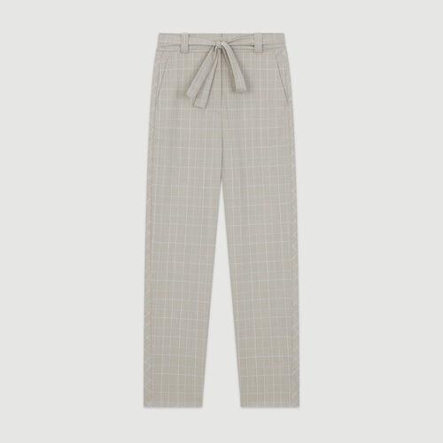 Pantalon à carreaux ceinturé : Pantalons & Jeans couleur Carreaux