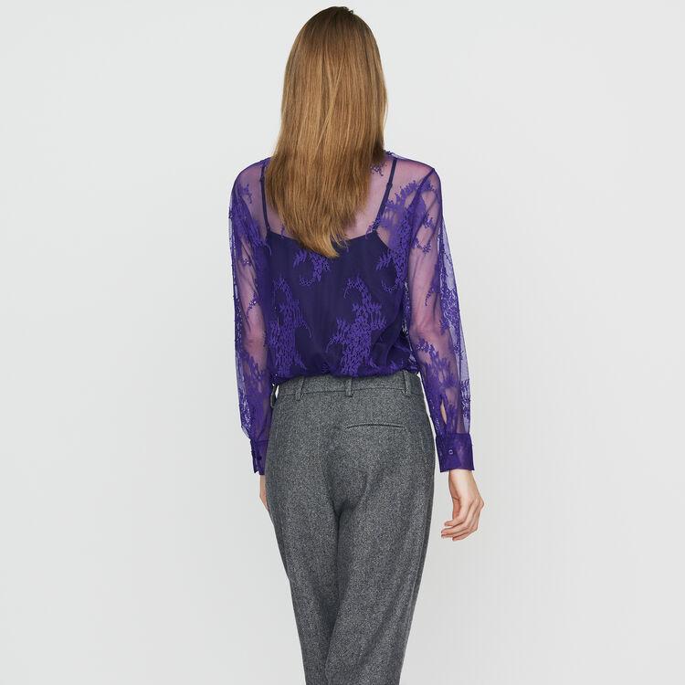 Chemise à lavallière en dentelle : Chemises couleur Black