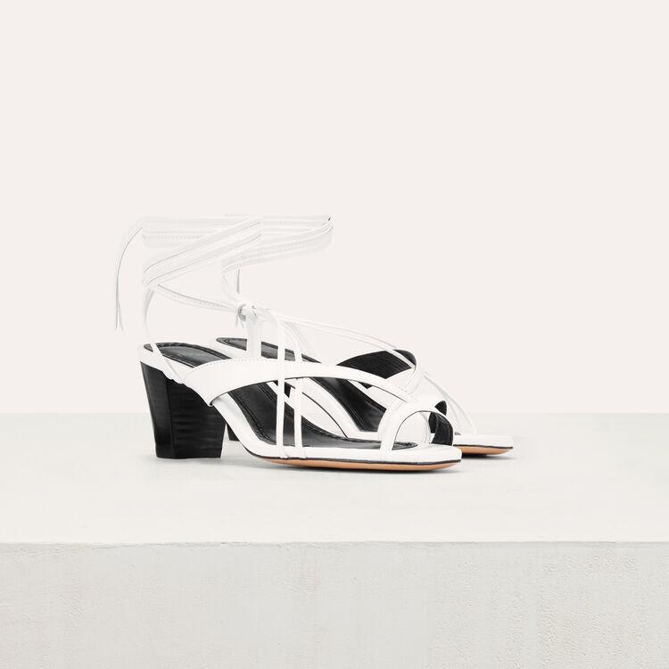 Sandales en cuir avec laçage cheville : -20% couleur Blanc