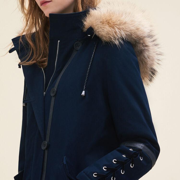 Parka courte avec détail lacé : Manteaux couleur Marine