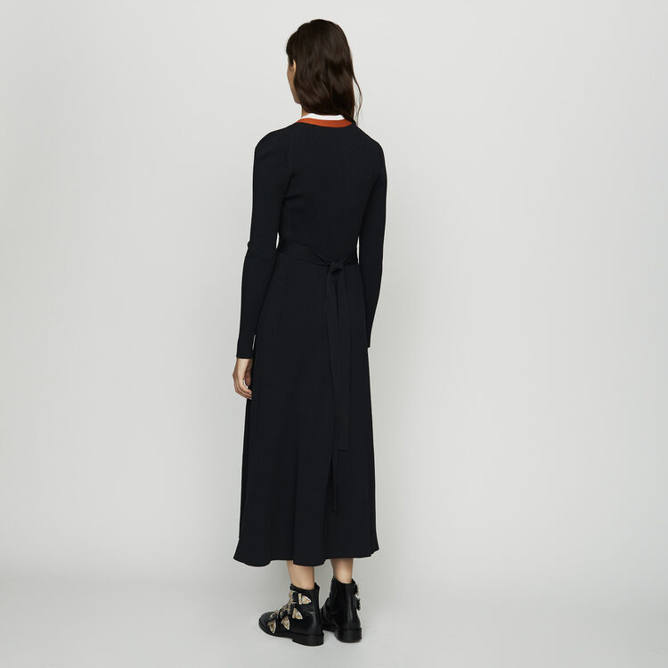 Robe cache-cœur en maille : Robes couleur Black