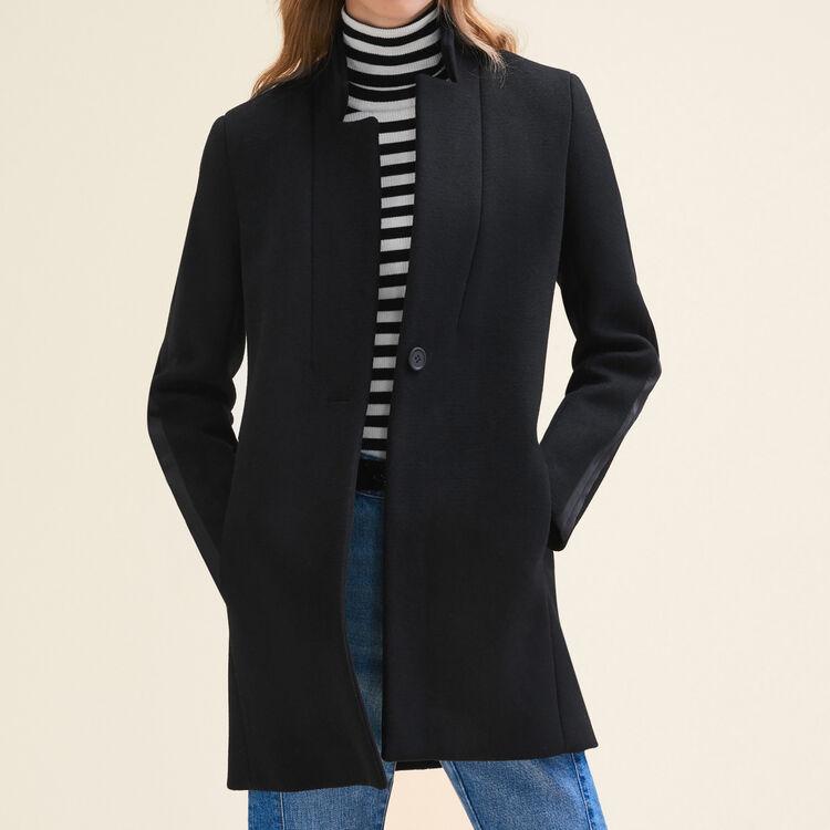 Manteau droit en laine : Manteaux couleur Black