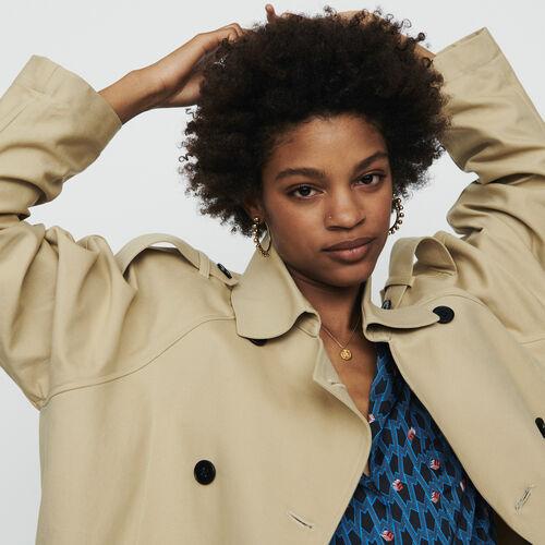 Trench court en toile de coton : Manteaux couleur Beige