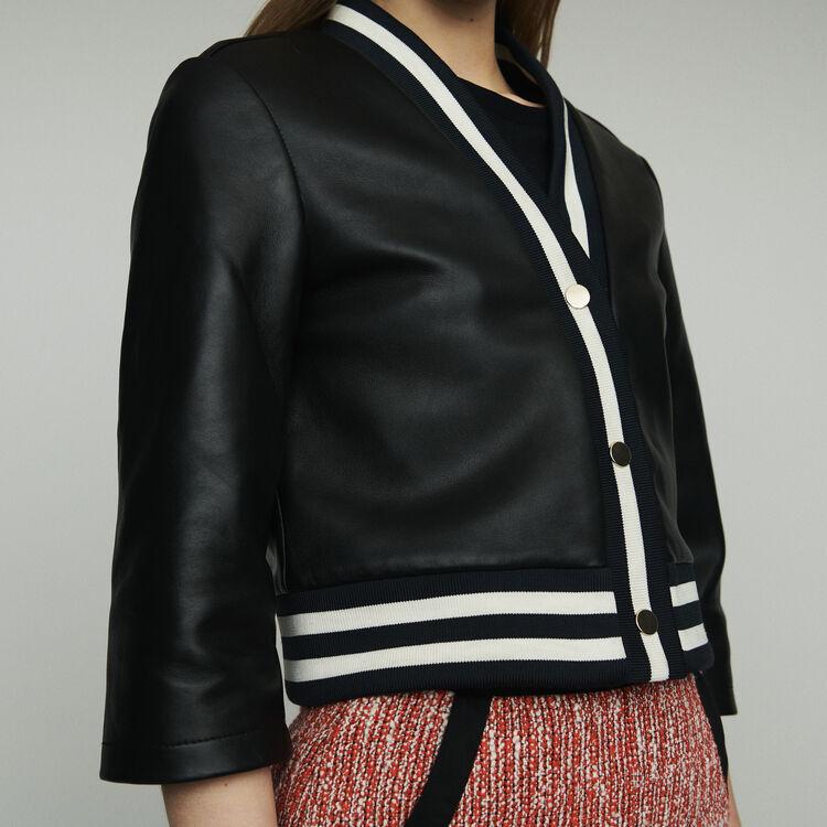 Veste en cuir avec galons rayés : Manteaux & Blousons couleur BLACK