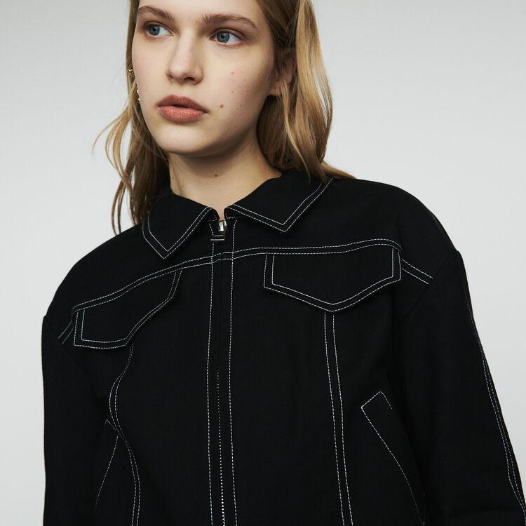 Blouson court avec jeux de surpiqures : Manteaux & Blousons couleur Black
