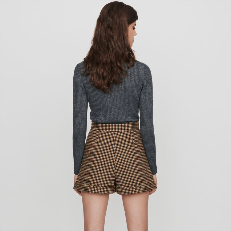 Short à carreaux avec plis et revers : Jupes & Shorts couleur Marron