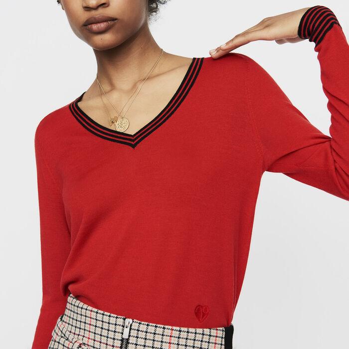 Pul fin en laine mérinos : Maille couleur Rouge