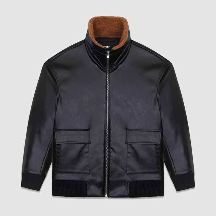 Blouson esprit cuir avec col fourré : Blousons couleur Black