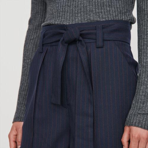 Short ceinturé à rayures tennis : Jupes & Shorts couleur Marine