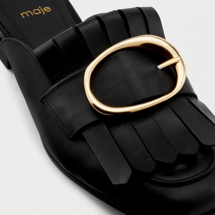 Mocassins mules en cuir et boucle : Chaussures plates couleur BLACK