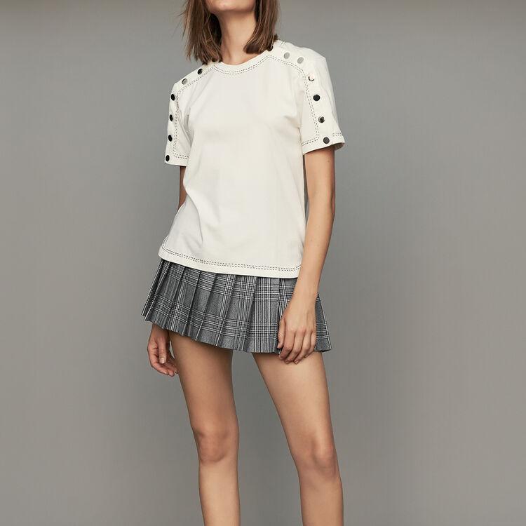 Tee-shirt en coton avec pressions : T-Shirts couleur Blanc