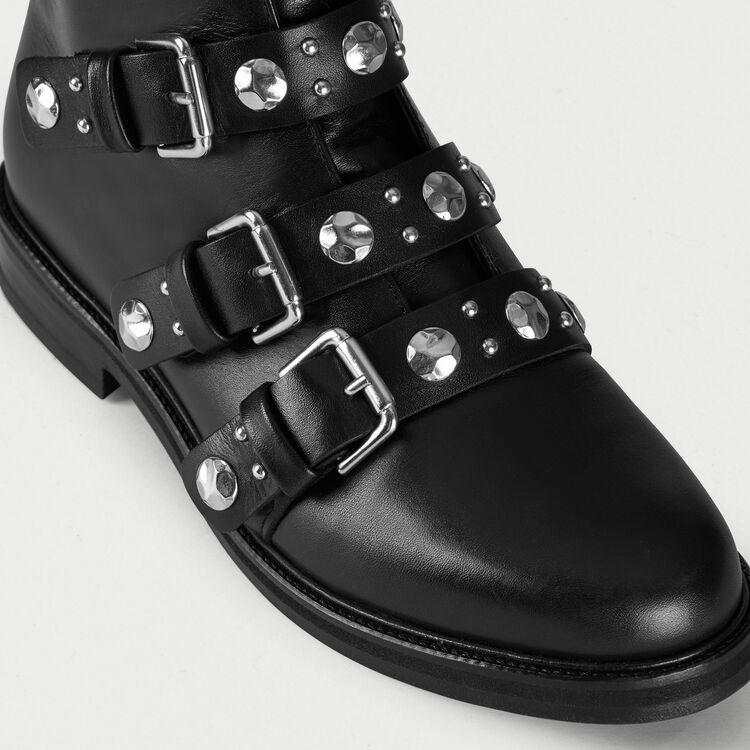 Bottines plates en cuir et studs : Bottines & Bottes couleur Black