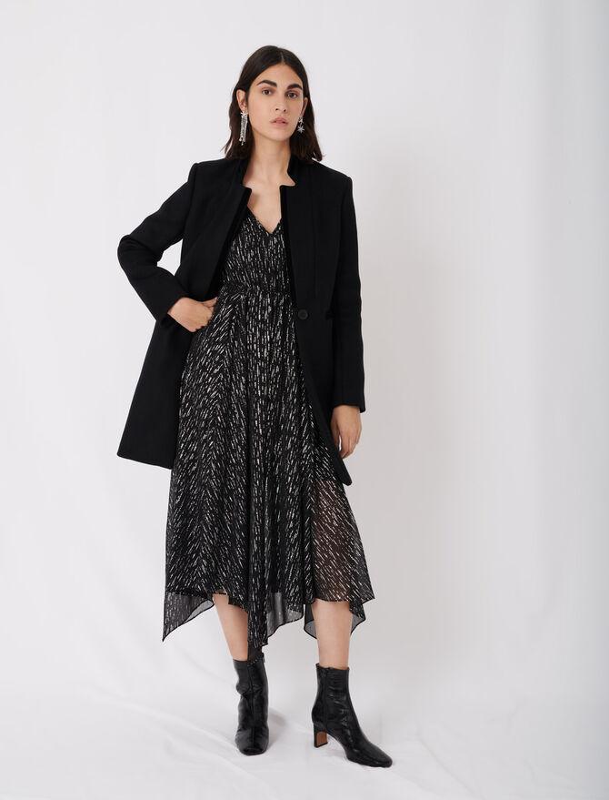 Manteau en drap de laine et velours - éco-responsable - MAJE