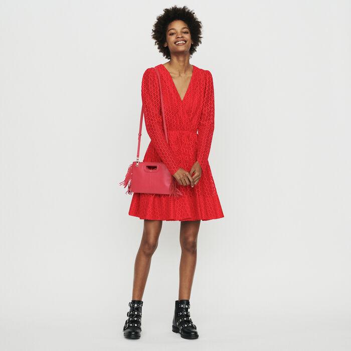 Robe en guipure géométrique : Robes couleur Rouge