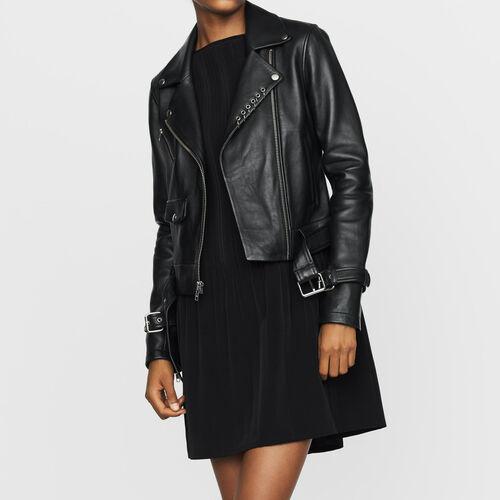 Blouson en cuir esprit biker : Manteaux & Blousons couleur BLACK
