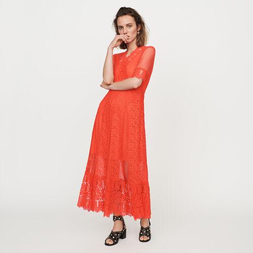 236c1441307 Robes true Robe longue en plumetis et dentelle   Robes couleur Corail