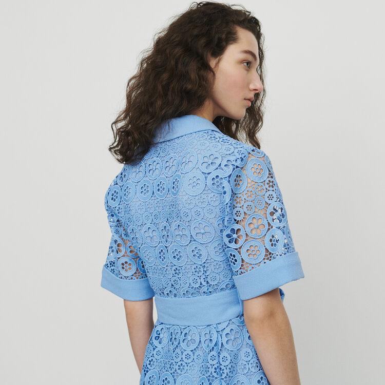 Robe midi en guipure marguerites : Robes couleur BLANC