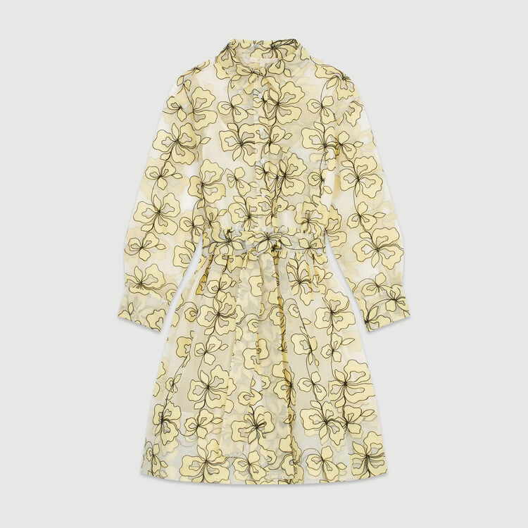 Robe-chemise brodée esprit organza : Robes couleur Jaune