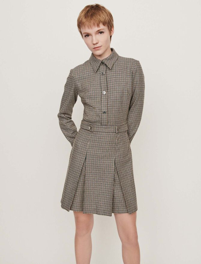 Robe-chemise à imprimé prince-de-galles - Midseason-Sales_UK_30% - MAJE