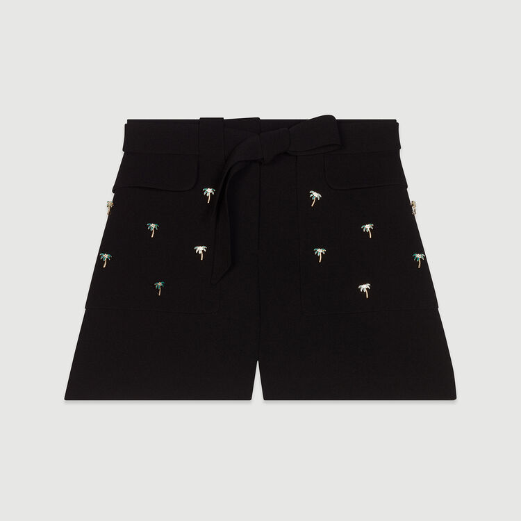 Short en crêpe avec bijoux palmiers : Jupes & Shorts couleur Black