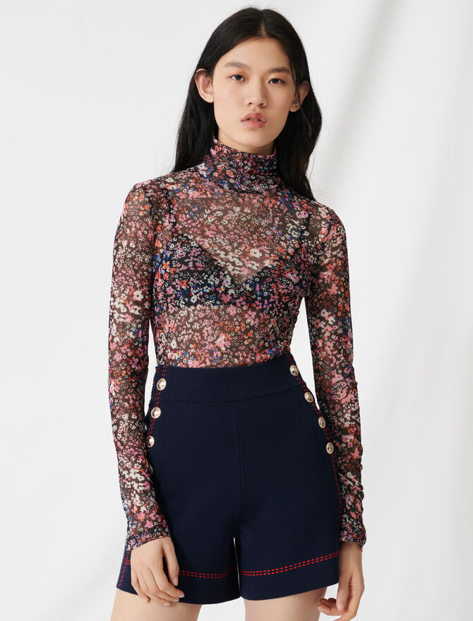 Top en mesh à motif floral -  - MAJE