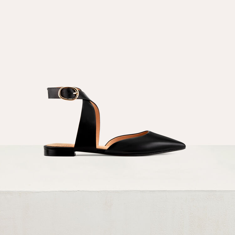 Ballerine en cuir et boucle cheville : Chaussures plates couleur Black