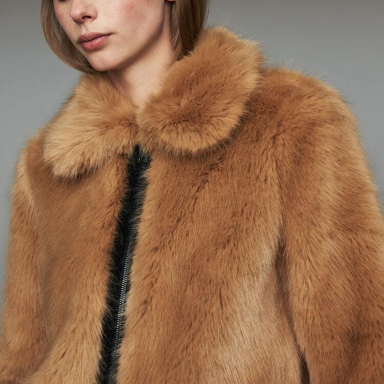 Blouson court en fausse fourrure : Blousons couleur Camel