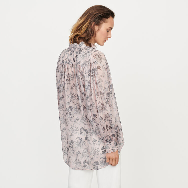 Chemise en voile de coton imprimé : Tops & Chemises couleur LILA