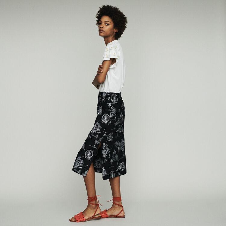 Jupe midi en crêpe brodée : Jupes & Shorts couleur Black