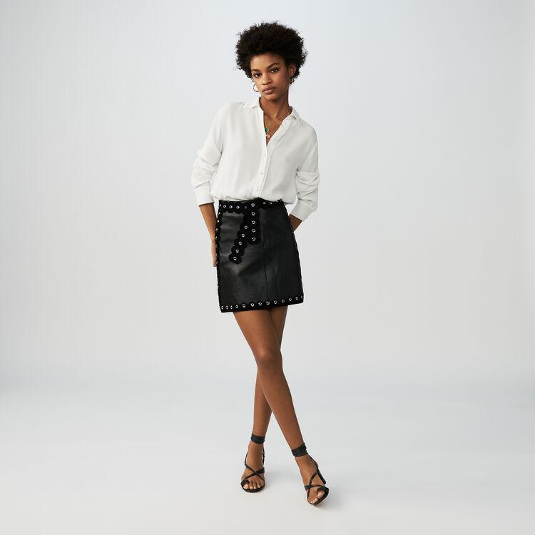 Jupe courte en cuir : null couleur Black